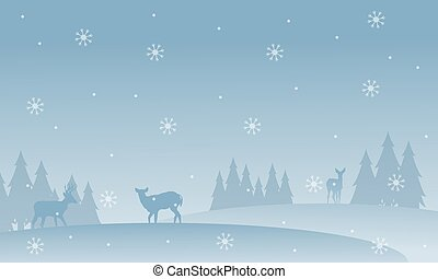 Silhouette of deer with snowflakes scenery
