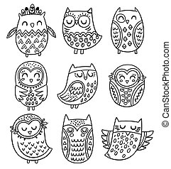 Vector collection of hand drawn owls in tribal style - Black...