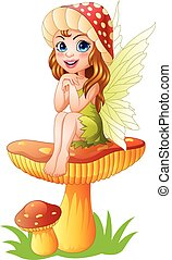 Cartoon little fairy sitting on mushroom - Vector...