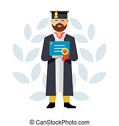 Vector Graduate. Flat style colorful Cartoon illustration. -...