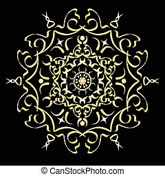 Gold color gradient ornament element abstract vector...