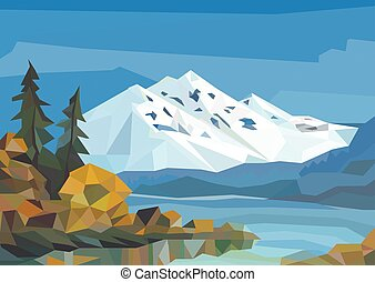 Polygon landscape. ice mountains, lake and trees.