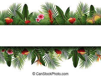 Blank sign with Tropical forest background - Vector...