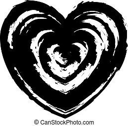 Grunge heart symbol, sign. Design element