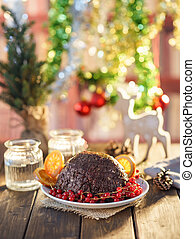 Christmas pudding in rustic style.