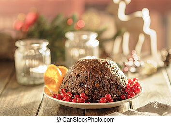 Christmas pudding in rustic style