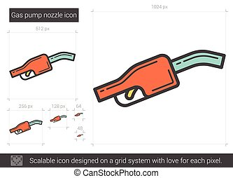 Gas pump nozzle line icon. - Gas pump nozzle vector line...