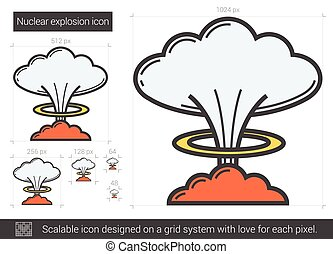 Nuclear explosion line icon. - Nuclear explosion vector line...