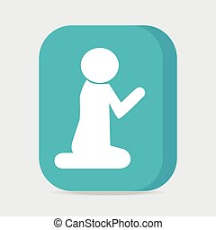 Prayer symbol, button vector illustration