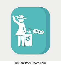 Woman with Luggage and holiday tag, symbol button vector illustration