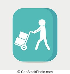 Man with handcart symbol, button vector illustration