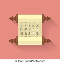 Ancient scroll or parchment with runes. Vector icon. Flat...