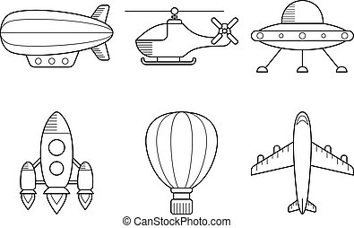 Icon set of aero vehicles. Helicopter plane UFO dirigible...