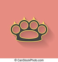 Icon of brass knuckles or knuckle duster. Flat style