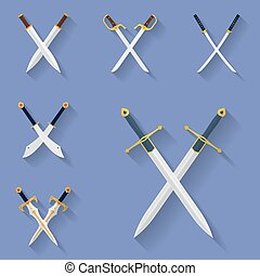 Icon set of ancient swords. Flat style