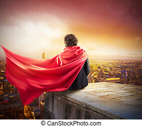 Businessman city superhero - Man with cloak view from above...