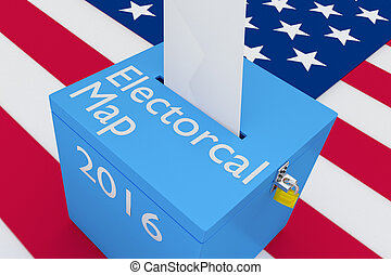 Electoral Map concept - 3D illustration of 'Electoral Map',...