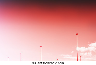 Vertical Norway steet city lamps on sunset sky background hd