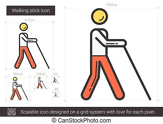 Walking stick line icon. - Walking stick vector line icon...