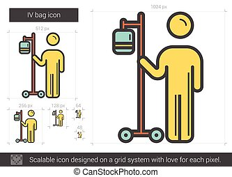 IV bag line icon. - IV bag vector line icon isolated on...