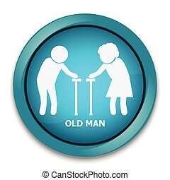 Elderly symbol. old people icon, button vector illustration