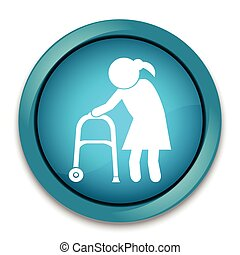 Elderly woman icon. old people icon, button vector...