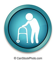 Elderly man icon. old people icon, button vector...