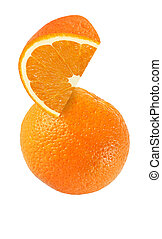 hanging, falling, hovering and flying piece of orange fruits...