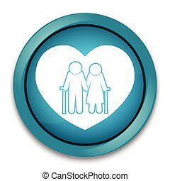 Elderly couple with love symbol. old people couple with...