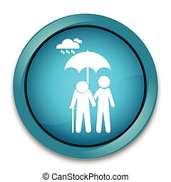 Man holding umbrella for protection elderly from the rain -...