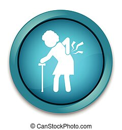 Elderly women with stick and injury of the back pain icon