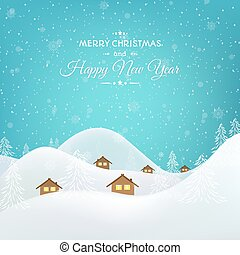 Winder snow chalet huts landscape bright blue sky - New Year...