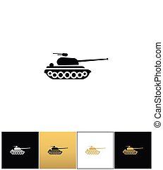Military tank sign or fire warfare artillery vector icon