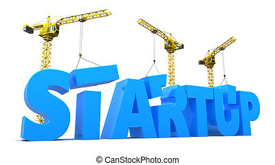 startup - abstract 3d illustration of startup construction...