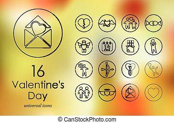 Set of Valentineys Day icons - Valentineys Day modern icons...