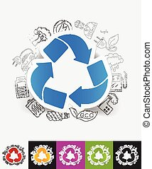 recycle sign paper sticker with hand drawn elements - hand...