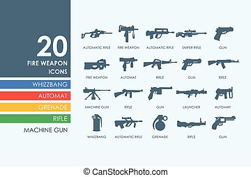 Set of firearms icons - firearms vector set of modern simple...