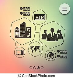 business infographic with unfocused background