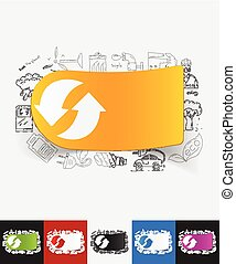 arrow recycling paper sticker with hand drawn elements -...