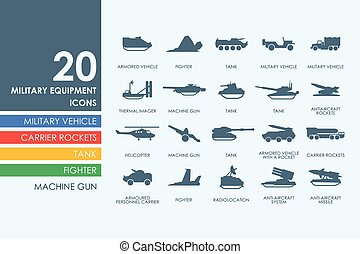 Set of military equipment icons - military equipment vector...