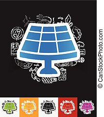 solar battery paper sticker with hand drawn elements - hand...
