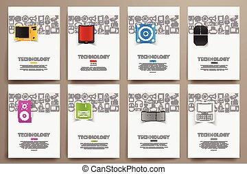 Corporate identity vector templates set with doodles...
