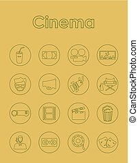 Set of cinema simple icons