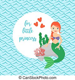 Cute card for girls with mermaid, circle frame and waves...
