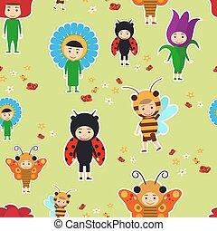 Kids in fancy dresses seamless pattern