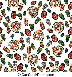 African masks seamless pattern on transparent background....