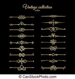 Gold calligraphic page dividers. Vector golden flourishes...
