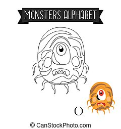 Coloring page monsters alphabet letter O