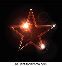 Glowing glossy star shape on black background