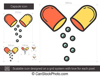 Capsule line icon. - Capsule vector line icon isolated on...